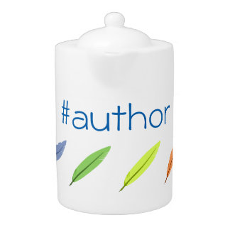 Quill pens and author hashtag teapot