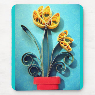 Quilling Yellow Crocus Mouse Pad