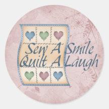 Quilt a Laugh Round Sticker