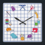 "Quilt and Sew Time Square Wall Clock<br><div class=""desc"">Here's my special clock designed for fellow quilters with my favorite tools and supplies for quilting, patchwork, needlework and embroidery: sewing needles, spools of thread, pin cushion with stick pins, bobbins, thimble, tape measure, scissors, bolt of cloth, rotary cutter, sewing machine and label on a self healing cutting mat. A...</div>"