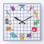 Quilt and Sew Time Square Wall Clock