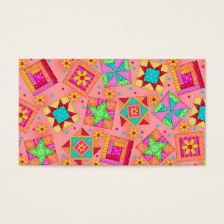 Quilt Art Business Card Coral Orange Background