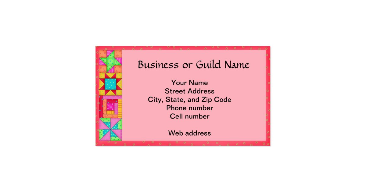 quilt art business card coral red background zazzle. Black Bedroom Furniture Sets. Home Design Ideas