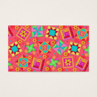 Quilt Art Business Card Coral Red Background