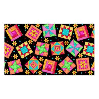 Quilt Art Business Card on Black Background