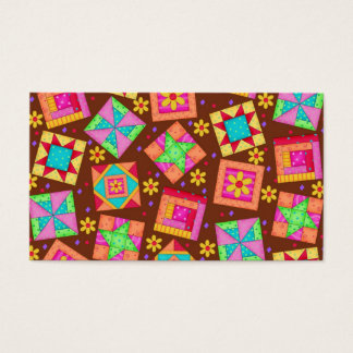 Quilt Art Business Card on Brown Background