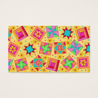 Quilt Art Business Card on Yellow Background