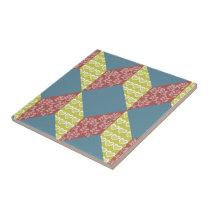 Quilt Baby Block Pattern in Retro Colors Ceramic Tile