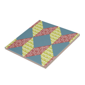 Quilt Baby Block Pattern in Retro Colors Ceramic Tile