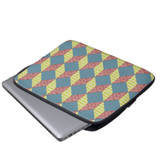 Quilt Baby Block Pattern in Retro Colors Laptop Computer Sleeve