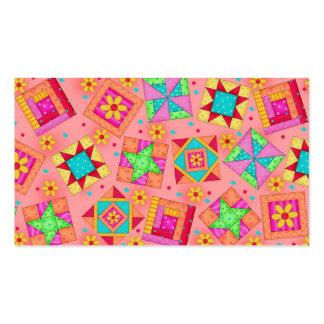Quilt Block Art Coral  Business Card