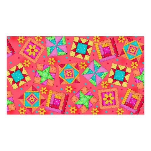 Quilt Block Art Light Red  Business Card