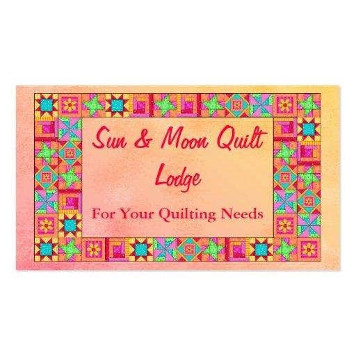 quilt block art patchwork border promotion business card zazzle. Black Bedroom Furniture Sets. Home Design Ideas