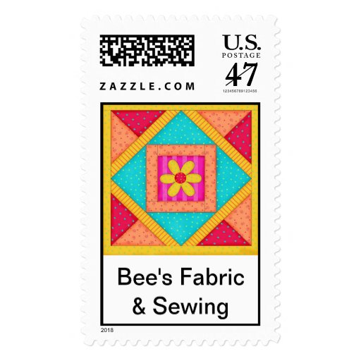 Quilt Block Art Postage Stamp Personalized