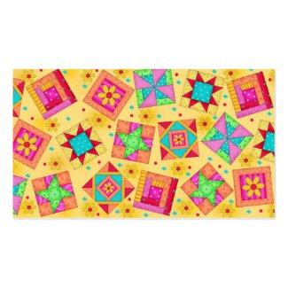 Quilt Block Art Yellow Business Card