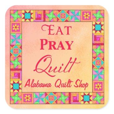 Professional Business Quilt Block Border Art Eat Pray Quilt Business Square Sticker