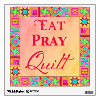 Quilt Block Border Art Eat Pray Quilt Red Coral Wall Decal