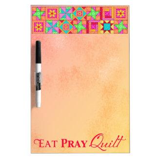 Quilt Block Border Art Patchwork Eat Quilt Pray Dry-Erase Board