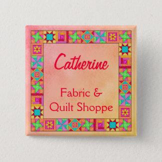 Quilt Block Border Art Quilt Business Name Badge Pinback Button