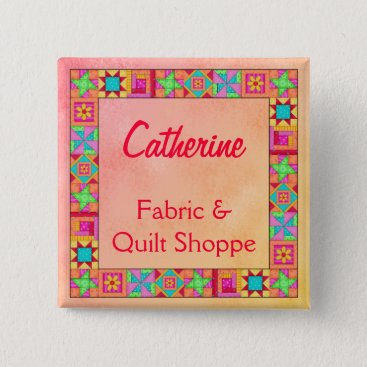 Professional Business Quilt Block Border Art Quilt Business Name Badge Pinback Button