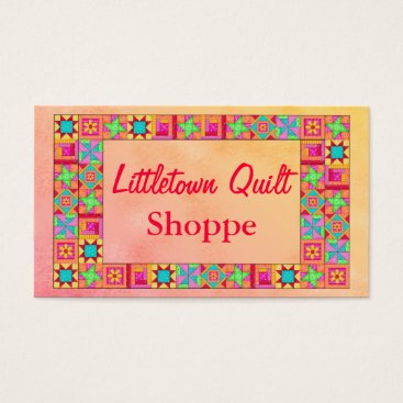 Professional Business Quilt Block Border Colorful Patchwork Promotion Business Card