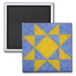 Quilt Block Magnet Star Blue