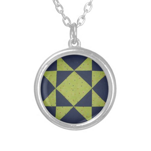 Quilt Block Necklace DKBlue