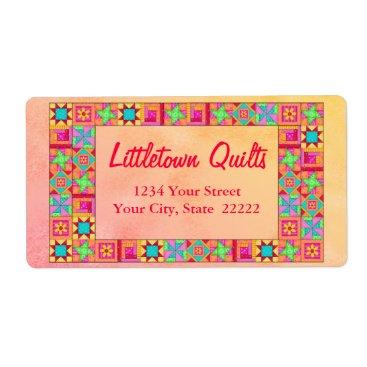Professional Business Quilt Block Patchwork Business Address Label
