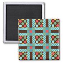 """Quilt Block Pattern """"Album"""" 2 Inch Square Magnet"""