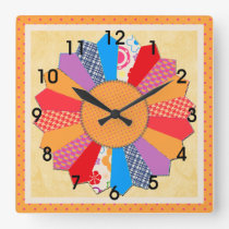 "Quilt Block Pattern  ""Dresden Plate"" Square Wall Clock"