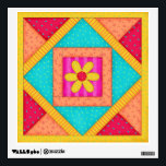 """Quilt Block Wall Decal<br><div class=""""desc"""">This colorful quilt block wall art will add a statement to your quilting room or business.  This original art is created in vibrat colors of red,  orange,  green,  yellow and aqua. Stick it on a wall or cabinet - easily removable and resticks. Show  your love of quilting.  Customizable.</div>"""