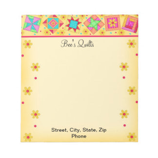 Quilt Block Yellow Notepad