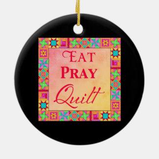 Quilt Blocks Border Art Eat Pray Quilt Black Ceramic Ornament