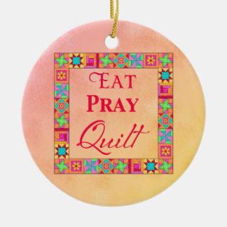 Quilt Blocks Border Art Eat Pray Quilt Coral Yello Ceramic Ornament