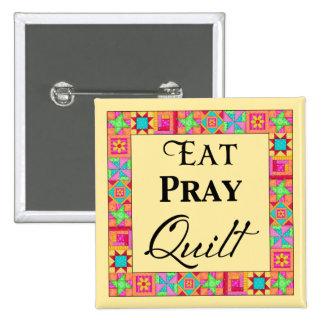 Quilt Blocks Border Art Eat Pray Quilt Yellow Pinback Buttons
