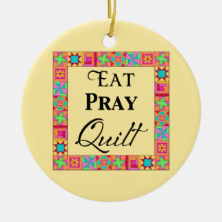 Quilt Blocks Border Art Eat Pray Quilt Yellow Ceramic Ornament
