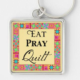 Quilt Blocks Border Art Eat Pray Quilt Yellow Key Chains
