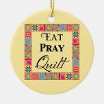 Quilt Blocks Border Art Eat Pray Quilt Yellow Ornament