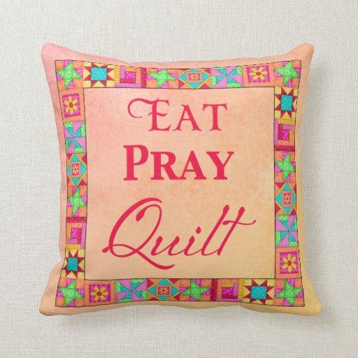 Quilt Blocks Patchwork Eat Pray Quilt Coral Yellow Pillows