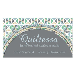 quilt blocks quilting quilter gray blue green Double-Sided standard business cards (Pack of 100)