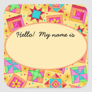Quilt Blocks yellow Name Tag or Label Square Sticker