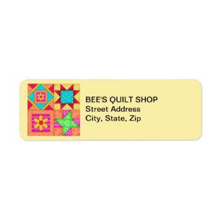 Quilt Blocks Yellow Return Address Label