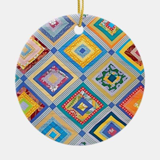 Quilt Ceramic Ornament