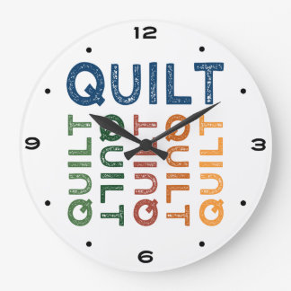 Quilt Cute Colorful Large Clock