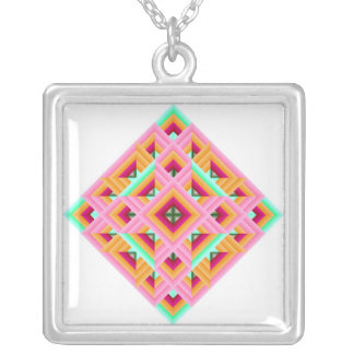 Quilt Diamond Pink green Silver Plated Necklace