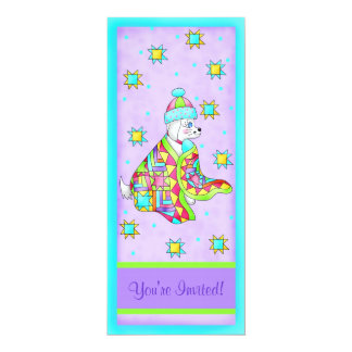Quilt Lover Dog Invitation, customizable 4x9.25 Paper Invitation Card