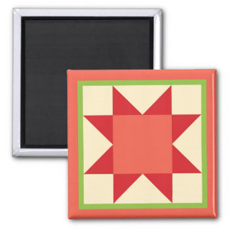 Quilt Magnet - Sawtooth Star (Christmas)