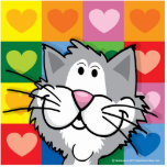 Quilt of Hearts Cat Cut Out