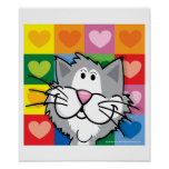 Quilt of Hearts Cat Posters