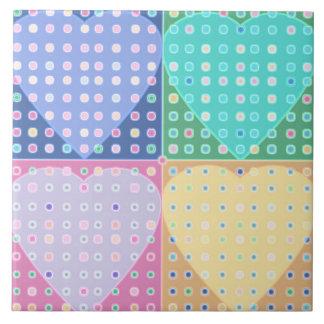 Quilt of hearts ceramic tile